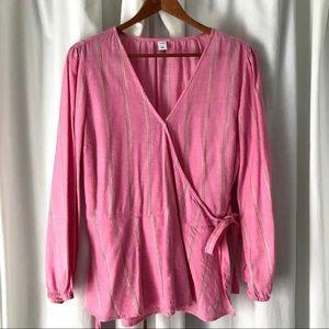Old Navy Linen Blend Vneck Wrap Shirt Pink